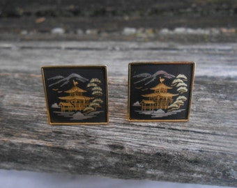 Vintage Damascene Cufflinks. Gift For Groom, Groomsmen, Dad, Wedding, Anniversary, Birthday, Christmas, Father's Day.