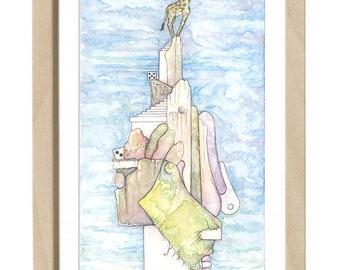 Happy giraffe, sad lion - Print - 7.6″x14″