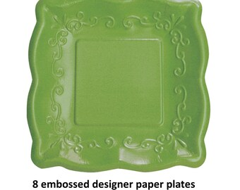 embossed green paper plates, spring wedding dessert table, bridal shower tableware, baby shower, tea party, decor, birthday party ideas