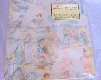 Vintage Hallmark Bridal Shower Gift Wrap (2 Sheets, 20.25 inches by 28.5 inches)
