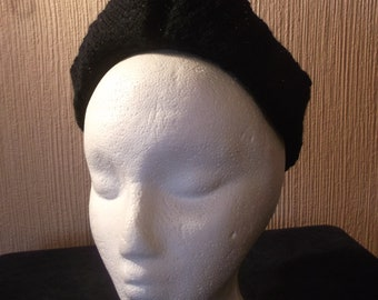 Vintage 1940s Reproduction Knitted Cap - Make Do and Mend Design - New