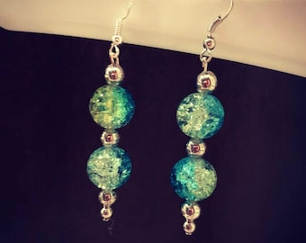 Green and Teal Dangle Earrings