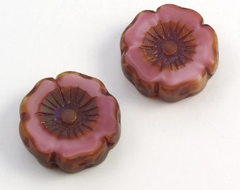 Large Hibiscus Flowers 22mm Satiny Pink Dark Brown Picasso Czech Glass Beads - 2