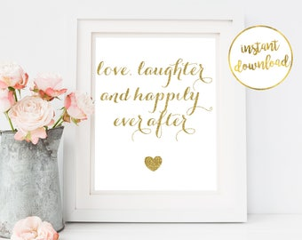 Printable Wall Art, Wall Art, Printable, Digital Wall Art, Love and Laughter, Happily Ever After, Love, Love Wall Art, Cheap Wall Art, Decor