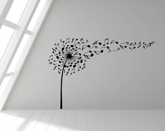 Dandelion Musical Notes Blowing in the Wind, Wall Sticker Decal Art. Any colour and a choice of sizes.(#147)