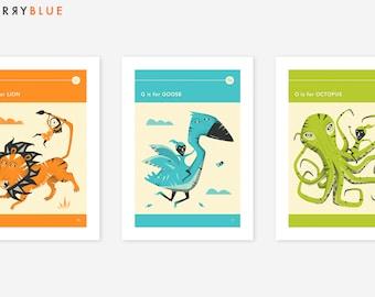 3 ANIMAL ALPHABET PRINTS (Giclée Fine Art Prints/Photo Prints/Posters) Wall Art for Kids