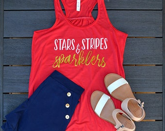 stars stripes and sparklers, 4th of July, womens tank top, patriotic, racerback, 4th of July Tank top, USA, America, merica, Olympics