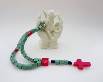 Children Catholic Rosary - Rosary Made With Lego Bricks - Mint Green With Red Cross