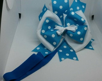 Blue dotted baby bow headband