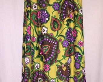 Fabulous 1970's Vintage Beaded Maxi Skirt Jeri Jo Knitwear, Inc. Lemon Yellow Floral Pattern