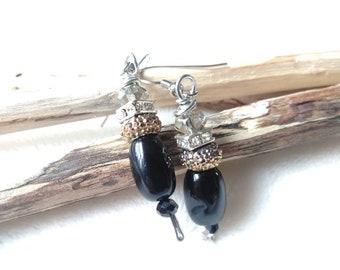 Earrings - Agate Crystal Earrings - Beaded Dangle Earrings - Wire Wrapped - Silver Black Gold - Boho Style Earrings - Boho Jewelry
