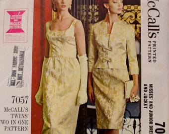 1960s Evening Gown, Jacket Vintage Sewing Pattern, McCalls 7057, Twins Two in One