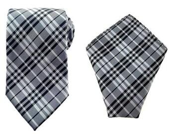 Mens Necktie Grey Black Checks 8.5 CM Necktie with Pocket Square. Grey Checkered Wedding Necktie. Necktie Pocket Square. Groomsmen Necktie