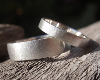 wedding band set of 2 brushed / satin finish engagement rings or wedding rings in sterling silver 5mm & 3mm - made to order