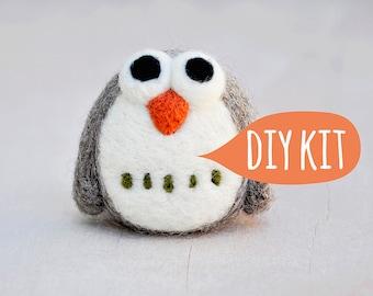 Needle felting kit beginner, Needle felting starter kit, DIY owl, Needle felting DIY Kit, needle felting beginner owl kit, DIY craft kit