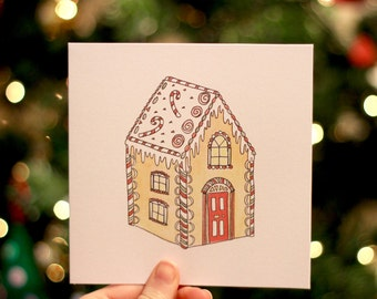 Gingerbread House - Illustrated Christmas Card