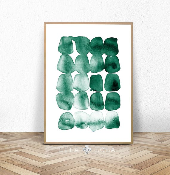 Green Print, Abstract Painting, Watercolour Wall Art, Printable Digital Download, Teal Green Decor, Large Poster, Brush Strokes, Ink