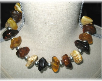 Amber necklace with silver