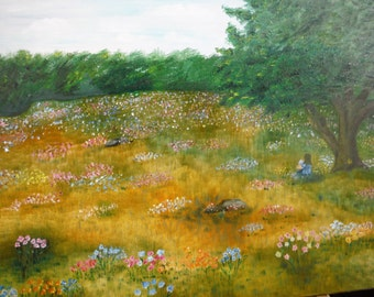 Reading in the Meadow print from an 18x24 original oil painting