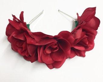 Red Rose Flower Crown Headband