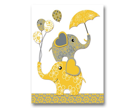 Neutral nursery artwork nursery wall art yellow grey elephant
