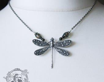 Art Nouveau Silver Dragonfly and Swarovski Pearl Necklace Pagan Goddess