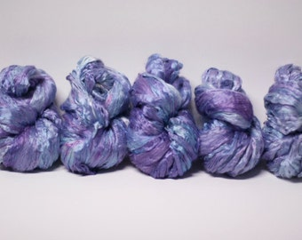 Silk Roving Top Pure Mulberry Hand Dyed Painted Cultivated Phlox 1-5