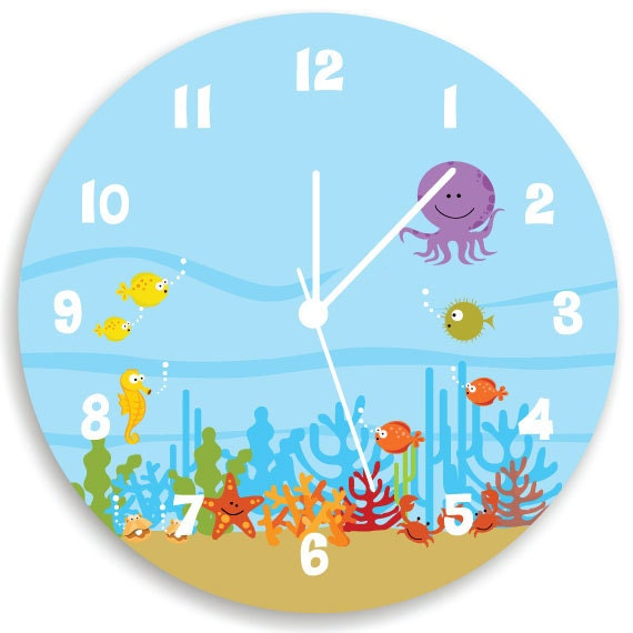 Kids Wall Clock Ocean theme Children Room Decor Life Under