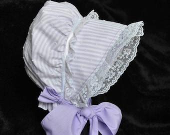Lavender Bonnet, Spring Bonnet with white lace 0-3 through 24 months sizes, Fabric Baby Hat