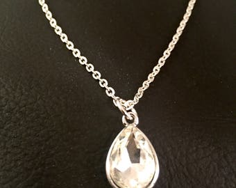 Crystal Tear drop pendant Necklace,  Dressy necklace, Formal Jewelry, Homecoming, crystal,  Pendant,  elegant Jewelry