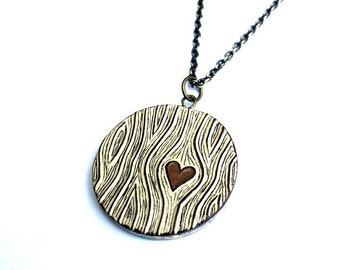 Wood Grain Heart Necklace, Faux Bois Jewelry, Brown Woodgrain Pendant, Wood Anniversary Gift for Wife, Wife Gift, Tree Hugger Gift