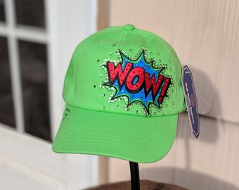 NEW Bright Green WOW BLING Cap