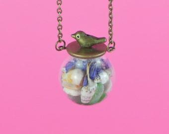 TERRARIUM NECKLACE Sea bird, handmade, Glass Bubble Necklace with tiny BIRD, Copper Necklace with Sea-glass Shells and cornflower petals