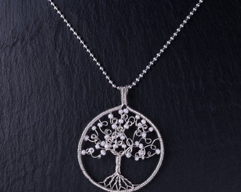 Sterling silver wire tree pendant (White)