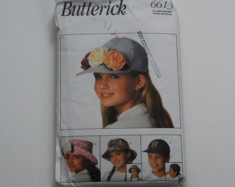 PAT0147 Butterick 6613 Children's Hat Pattern for Girls and Boys