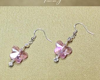 Swarovski Crystal earrings, Dangle butterfly earrings, Czech Crystal earrings, 925 Sterling Silver hooks, Bridal earrings, InfinityCraftArts