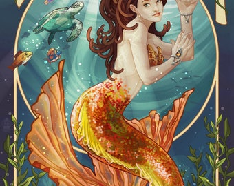 Tampa, Florida - Mermaid - Lantern Press Artwork (Art Print - Multiple Sizes Available)