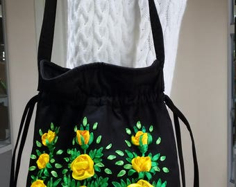 Flower Pouch Bag Embroidered Satin Ribbon Hand Embroidery Cloth Crossbody Handbag Black Fabric Soft Floral Purse Yellow Roses Shoulder Bag