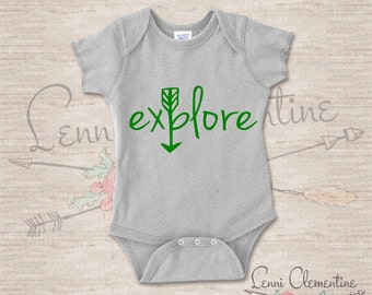 Explore Infant Bodysuit - Hippie Baby Clothes - Hipster Baby Clothes - Arrow Baby Clothes - Arrow Baby Bodysuit - Adventure Baby Gift