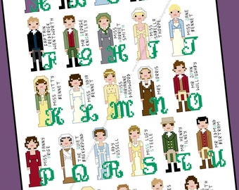Jane Austen inspired Character Alphabet Cross Stitch pattern - PDF Pattern - INSTANT DOWNLOAD