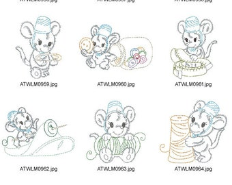 Fluffy-Sewing-Mice-Helper ( 10 Machine Embroidery Designs from ATW )