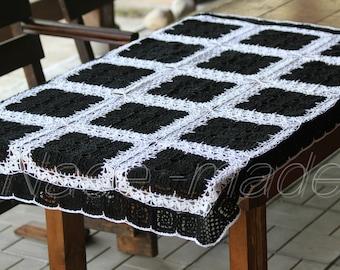 Crochet black white cotton tablecloth