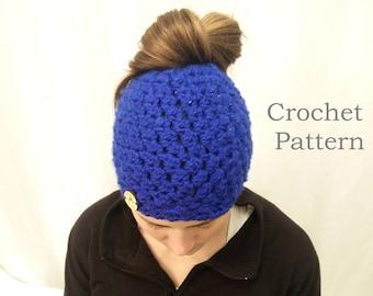 CROCHET PATTERN - The Mounty Messy Bun PonyTail Hat (Adult, Child, Toddler/Small Child)