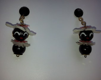 1940 inspired earrings,original 50 Stitches Chi-chis, Red& white/ little comic Pittiplatsch DDR, celluloid, Calimero