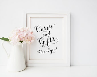 Cards and Gifts Sign, Printable Wedding Gift Table Sign, 8x10 5x7 Cards and Gifts Sign, Instant Download Wedding Sign, Carolyna Pro Black