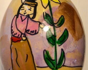 Giant Sunflower Maiden Hand Painted Gourd Christmas Ornament by Sandy Short   handpaintedgourds.com