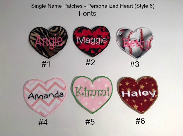 PERSONALIZED Heart Patch - Single Name Patch (Style 6), IRON ON Embroidered  Patch, Valentine Patch, Kids Patch, Made to Order Patch