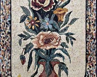 Vase Of Roses. Floral Mosaics