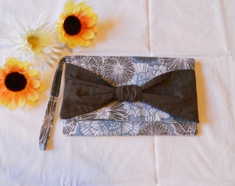 SALE - Knot Clutch - Blue and Brown Flowers