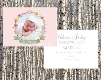 Watercolor Wildflower Floral Wreath Whimsical Girl Birth Announcement - set of 10, 25 OR Digital Printable File